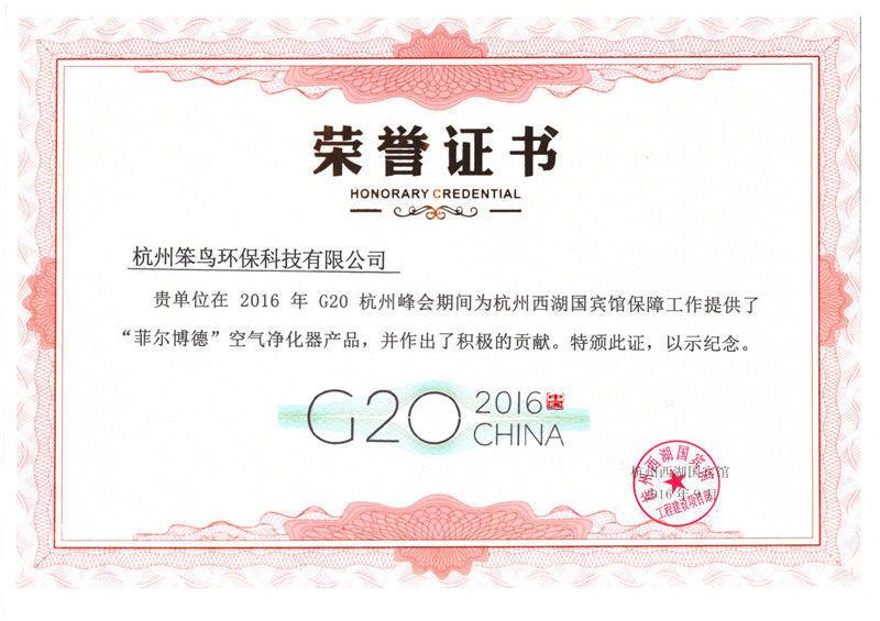 G20笨鸟荣誉证书